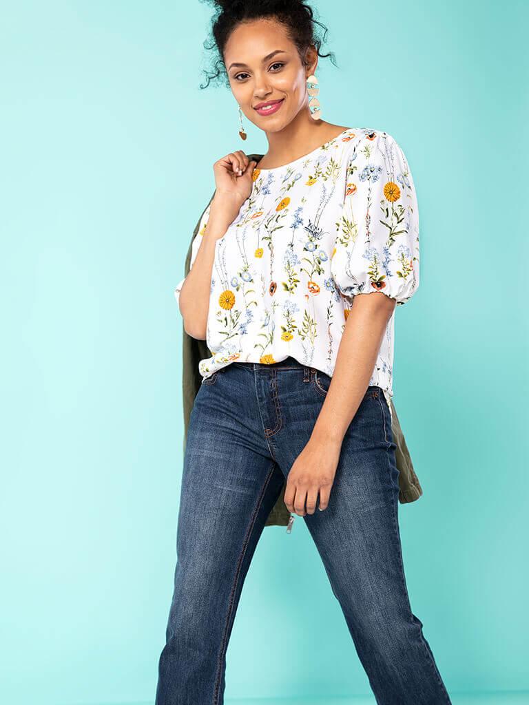 Remade Women Short Sleeve Blouse Size 1X (Plus)